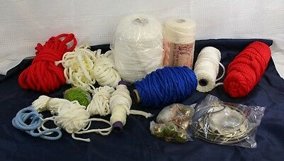 Lot Of New & Used Vintage 1970's / 1980s Macrame Cord, Beads, Rings - Nice Stuff