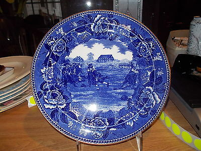 Historical Blue Wedgwood Collector Plate-BATTLE OF LEXINGTON COMMON-Gold Trim