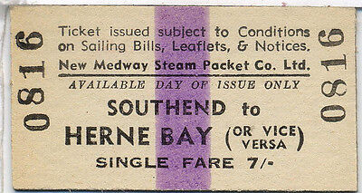 Steamer ticket: New Medway Steam Packet Co: Southend to Herne Bay