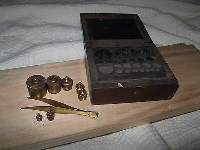 7 Brass Apothecary weights(100G,50G,20G,10G,5G,+) w/Box & Tweezers ARE Ny