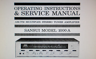 Sansui  1000A St Tuner Amp Operating Instructions And Service Manual Schem Eng