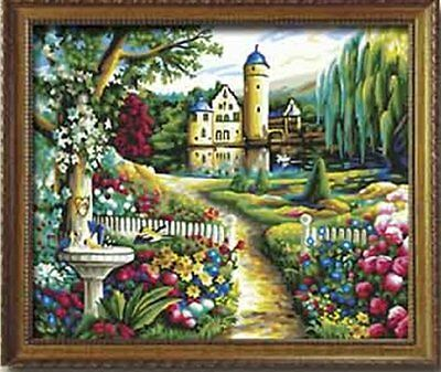 DiY oil painting, paint by number kits- Garden Landscape 16*20 inches.