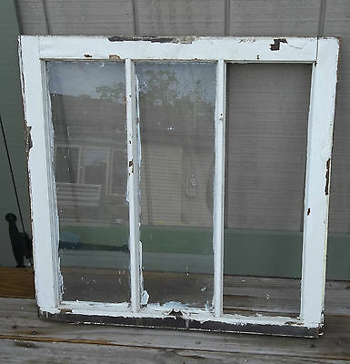 BARN Window Farmhouse OLD wavy glass Chippy White Paint Vintage Shabby Window