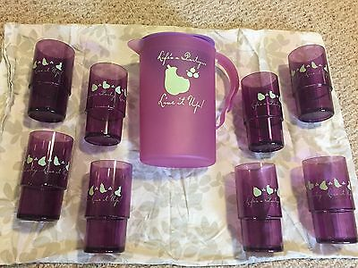 Tupperware Purple Life's A Party 2 Qt. Pitcher With 8 14 Oz Crystal Tumblers New
