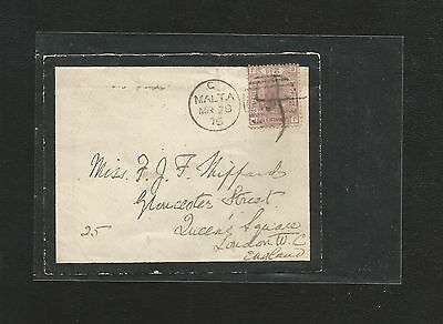 F257) Great Britain Sg 139 On 1876 Malta. Mourning Cover