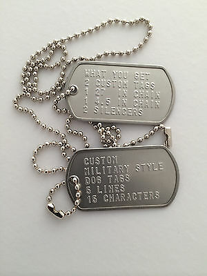 Custom Stainless Steel Military Style Dog Tag