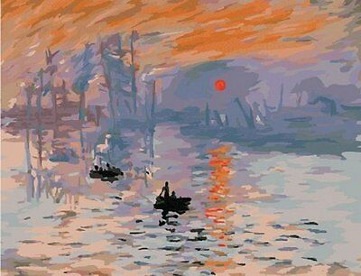 DiY oil painting, paint by number kits-Impression Sunrise by Monet 16*20 inches.