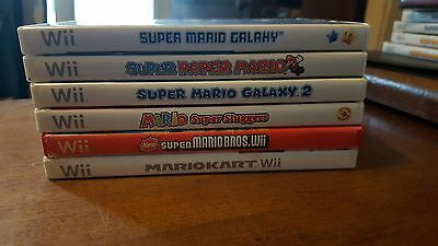 lot of 6 Mario Wii games sluggers paper kart galaxy 1 & 2  all with manuals