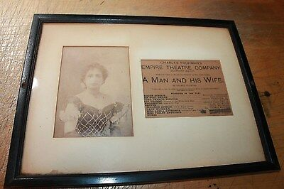 Original Photo Signed Lillian Thurgate And Cast List For  Man And His Wife 1914