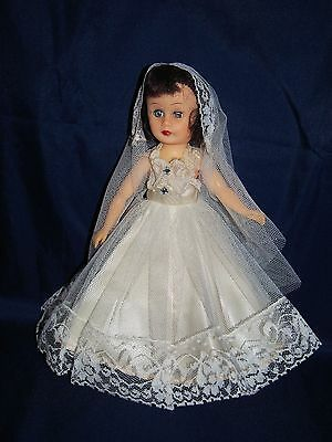 """Vintage 1950's Miss Coty Girl #156 Wedding Gown & Veil for 10.5"""" doll (No Doll)"""