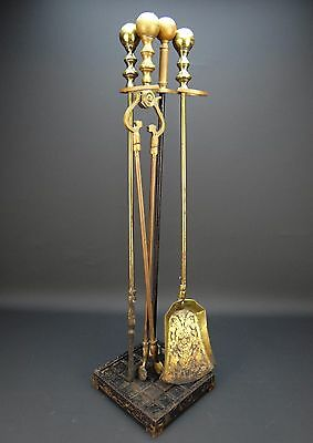 English Victorian Style Antique Brass Fireplace Hearth Tools & Stand