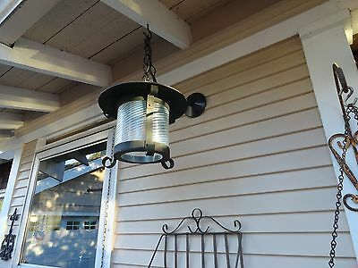 VINTAGE ARTS & CRAFTS Metal & GLASS EXTERIOR WALL PORCH LIGHT FIXTURE Craftsman
