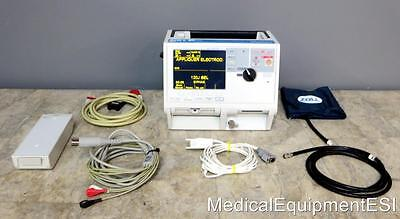 FRENCH ZOLL M-Series Biphasic 3 Lead ECG SpO2 NIBP Analyze BLS cables battery