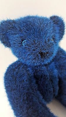 """Vermont Teddy Bear Blue Stuffed Plush 16"""" Blue Eyes Jointed Toy Made in USA Rare"""