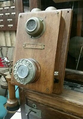 Wooden Antique Vintage rewired Working Telephone. Bakelite Wood and brass.