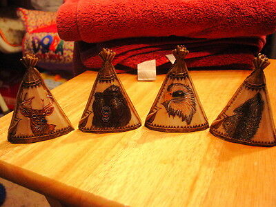 Eagle, Deer, Wolf And Bear Etched On A Teepee Set ( Set Of 4 )