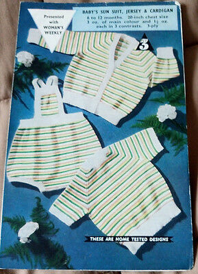 Baby Sun Suit, Sweater & Cardigan vintage knitting pattern 3 ply yarn