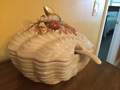 Fitz & Floyd Oceana Sea Shell Porcelain Soup Tureen With Ladle