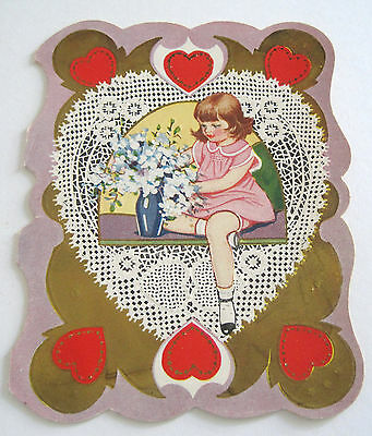 Used Vtg Valentine Card Girl Playing with Flower Arrangement