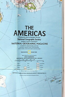 The Americas & Bird Migrations  National Geographic Map / Poster August  1979