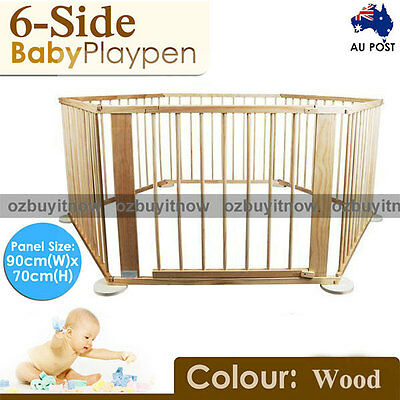 AU Stock New Wood Wooden Baby Kids Toddler Playpen Divider Safety Gate 6 Panels