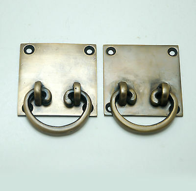 "1.96"" 2 pcs Vintage RETRO Western Square Drop Pull Cabinet Solid Brass Handle"
