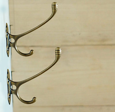 "4.52"" SET OF 2 PCS ANTIQUE Vtg Victorian Style BRASS Hat Coat Strong Wall HOOK"
