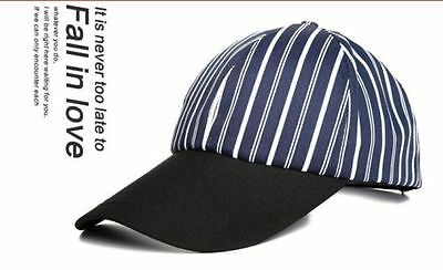 New Year Cotton Blue Stripe Polyester Peaked Cap Baseball Chef Hat