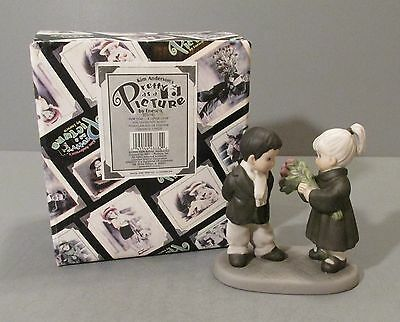"1998 Enesco Pretty as a Picture ""Girl Giving Boy Roses"" Figurine - #375942"