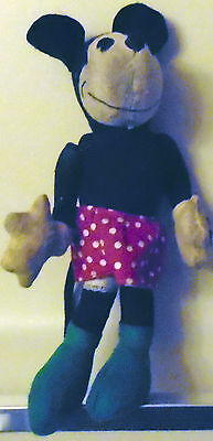 "1930's Stuffed Minnie Mouse Pie Eyed Approx 10"" White Polka Dot Red Skirt Green"