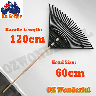 120cm GARDEN RAKE LEAF FAN HEAD LAWN RAKE LONG HANDLE LEAVES MOSS CLEAN FAMRING
