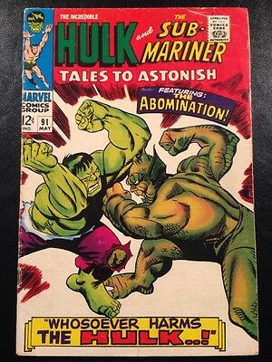 TALES TO ASTONISH #91 VG+ 4.5 Grade 2nd Abomination