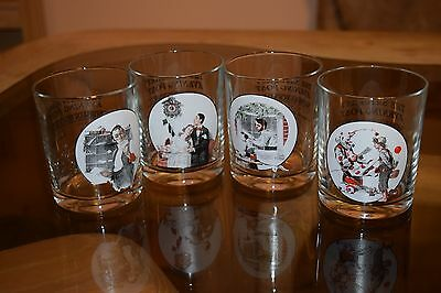 Set 4 Norman Rockwell The Saturday Evening Post Tumbler Drinking Glasses