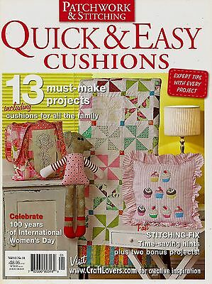Quick & Easy Cushions  Vol 11 No 11.  Magazine 2011  Pattern Sheet Attached