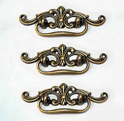 Lot of 3 pcs Vintage French Avant Garde Solid Brass Cabinet Drawer Handle pulls