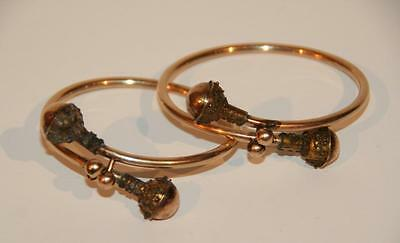 Antique Victorian Rose Gold-filled Matching Pair By-Pass Bracelets, Superior