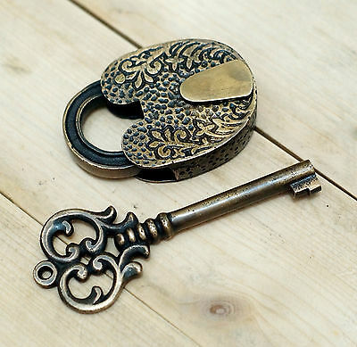 Antique Flowers Carved PADLOCK with BIG SKELETON Keys Solid Brass Vintage Lock