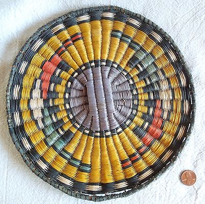 Vintage HOPI WICKER BASKET 9-Inch Basketry Plaque YELLOW *Free Shipping*