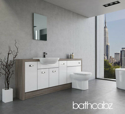 White/driftwood Fitted Bathroom Furniture P1 2000Mm Base Units