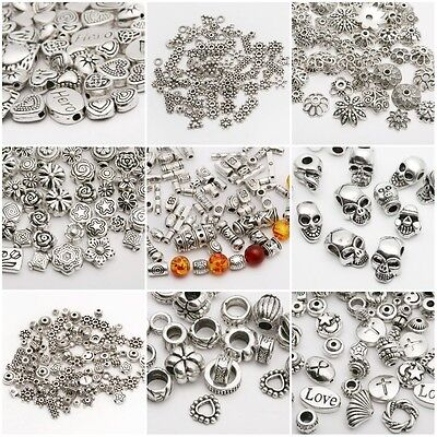 12-100pcs Wholesale Mixed Tibet Silver Beads Spacer For Jewelry making