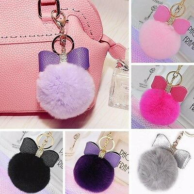 Leather Bow Bag Rex Rabbit Fur Ball Car Key Chain Keyring PomPom Accessories