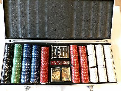 500 Poker Chips with Aluminum Case - No Handle on case