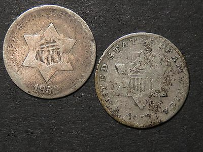 1852 and 1853 Silver Three Cents--both slightly bent