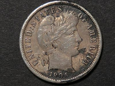 1906-D Barber Dime with XF details