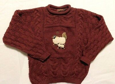 McKENNAS Leisure  Wool Cable Knit Rolled Collar Sweater Embroidered Sheep 8/10
