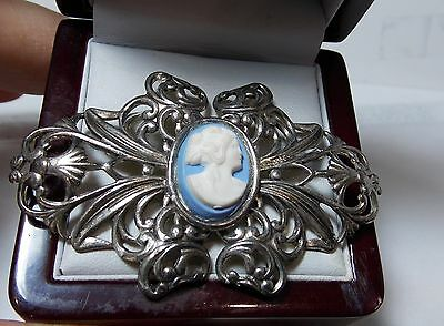 Vintage Cameo Wedgwood Blue Background Silver Filigree Bow Brooch.