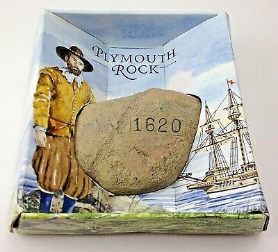 Plymouth Rock Souvenir Thanksgiving NIB Real Stone Engraved With Year 1620