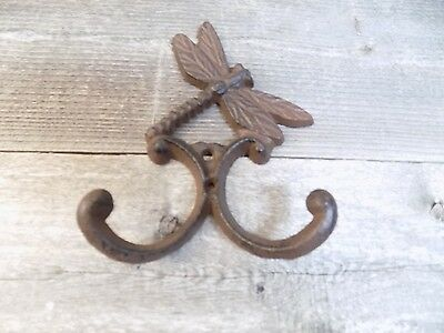 Cast Iron DRAGONFLY Towel Hooks Hat Rack Coat Hook Rustic Dragon Fly Bathroom