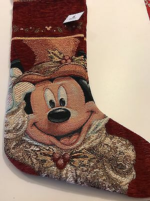 New Disney Parks Mickey Mouse Victorian  Christmas Stocking
