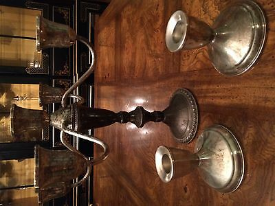 Duchin Creations Antique Weighted Sterling Silver Candelabra and 2 Candlesticks